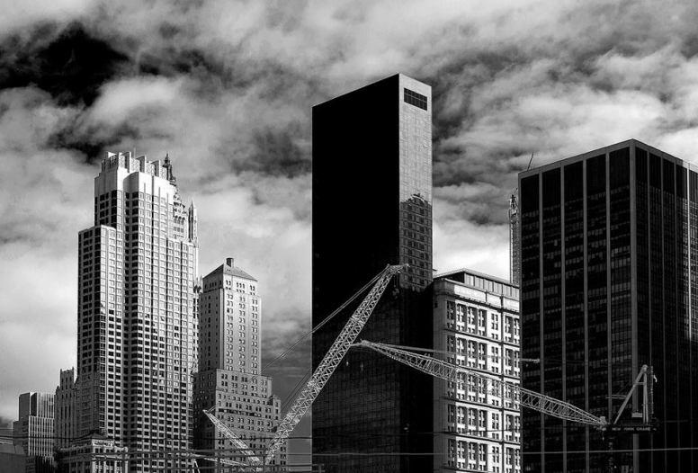 Cranes at Ground Zero by Jay Fine